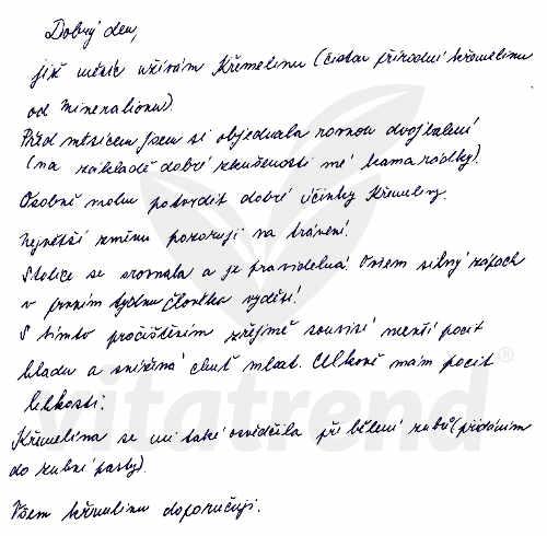Michala F. - zkušenost s užíváním křemeliny od firmy Vitatrend
