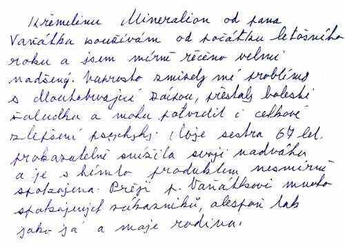 Zkušenost pana Miloslava S. s křemelinou Vitatrend