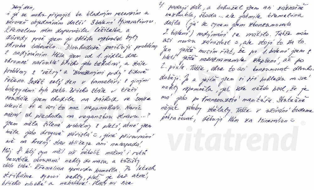 Zkušenosti Petry Ch. s užíváním křemeliny Vitatrend
