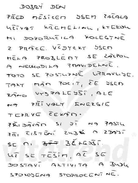 Stanislava M. - zkušenost s užíváním křemeliny Vitatrend