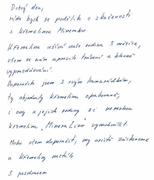 Zkušenost Jany V. s křemelinou Vitatrend