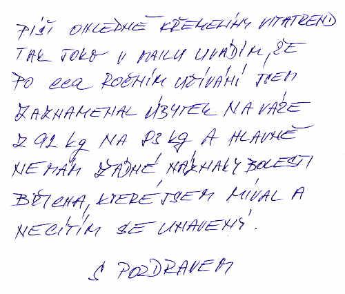 Užívání křemeliny Vitatrend - zkušenost Jiřího V.